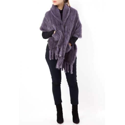 Purple Fur Pockets Shawl