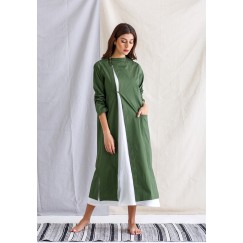 Green Jacket and white Sleevless Dress
