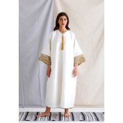 Offwhite and Gold Kaftan