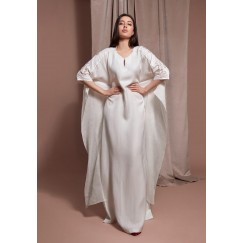 White Hand-Embroidered Maxi Kaftan