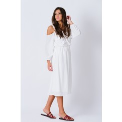 White Cold Shoulder Dress
