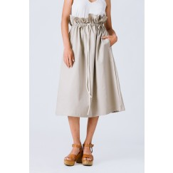Beige High Waist Paper Bag Skirt