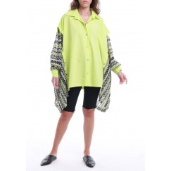 Neon Oversized Printed Sleeves Shirt
