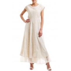 Rose Gold on Beige Dress