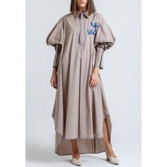 Jeita Grey Embroidered Midi Dress