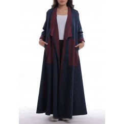 Navy & Maroon Long Sleeves Abaya