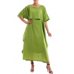 Green Solid Ruffled Kaftan