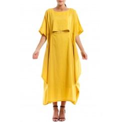 Yellow Solid Ruffled Kaftan