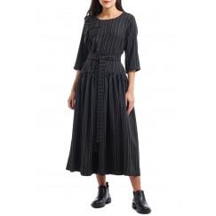 Black Ruffled Striped Kaftan