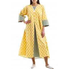 Yellow Arabesque Pattern kaftan