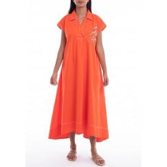 Rousha Orange Embroidered Midi Dress