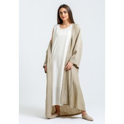 Beige Kaftan with White Sleeveless Dress
