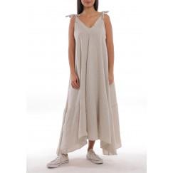 Beige Linen Wide-Cut Dress