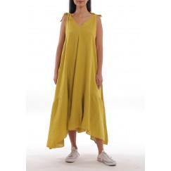 Mustard Linen Wide-Cut Dress