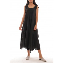 Black Linen Wide-Cut Dress