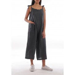 Grey Wide Legged Midi Jumpsuit