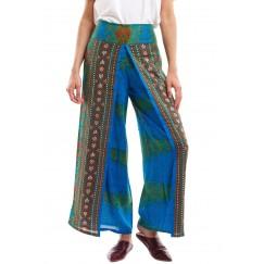 Blue & Green Peacock Maxi Pants