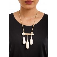White Three Almonds Necklace