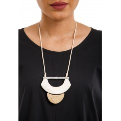 Half-Moon Cream & Brown Necklace