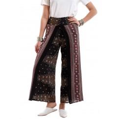 Black & Maroon Peacock Pants