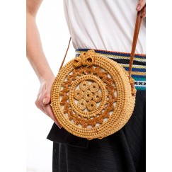 Braided Pattern Wood Brown Happy Picnic Bag