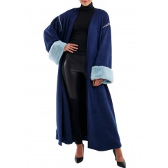 Blue fur bisht
