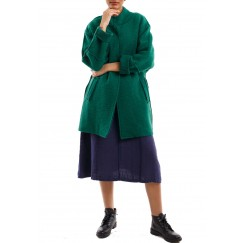 Pleated trimline jacket sea green