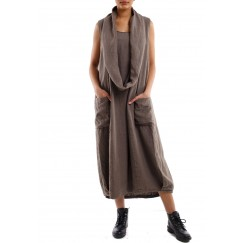 Sleeveless dress brown