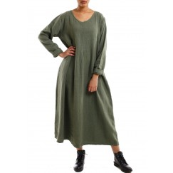 Flowy long dress army green
