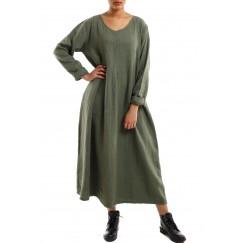 Flowy long dress army green