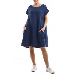 Pleated back short dress - Blue