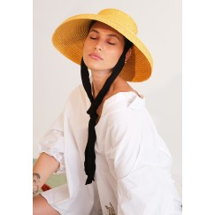 Summer Crown Yellow Hat With Ribbon