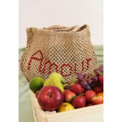 Handmade Jute Red Amoir Beach Bag