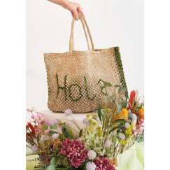 Handmade Jute Green Hola Beach Bag