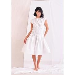 White Elastic Waist Dress