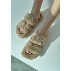 Beige Double Strap Fur Slipper