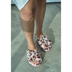 Pink leopard Fur Slipper