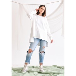 White High-Low Jumper
