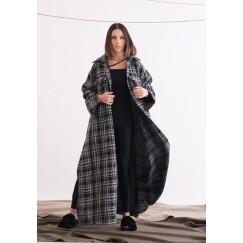 Black & White Checked Maxi Coat