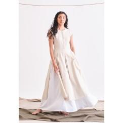 Beige & White Seafull Sleeveless Dress