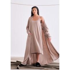 Beige Jersey Dress Set