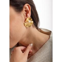 Fan Leaves & pearl Earrings