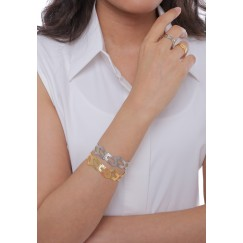 Gold & Silver Hollow Set Of 2 Bracelets & 2 Rings