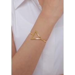 Gold Triangle Set Of A Bracelet & Ring & Earrings