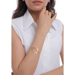 Gold Square Set Of A Bracelet & Ring & Earrings