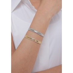 Silver & Gold-Tone Double Crystal Lines Bracelet Set