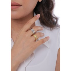Gold & Silver Crystal Line Rings Set