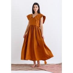 Orange Oversized Collar Kaftan