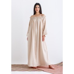 Beige Off-Shoulders Pleated Kaftan