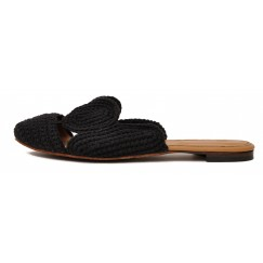 Hala Black Handmade Threads Mules